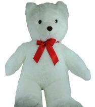 white teddy bear with red bow
