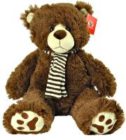 dark brown bear with scarf