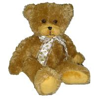 brown bear with ribbon